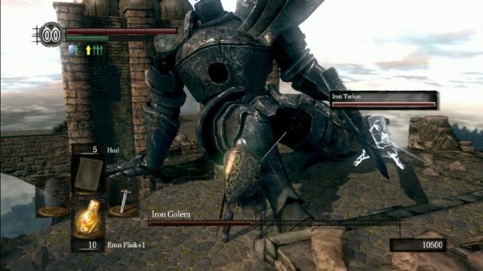 Cause bastante dano às pernas de Iron Golem para derrubá-l (Foto: Reprodução/Steam)