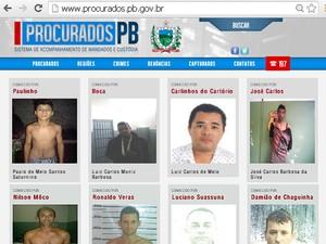 Segurança lança portal com fotos de procurados pela polícia da Paraíba (Foto: Reprodução/Secretaria de Segurança)