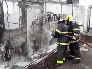 Ônibus foi totalmente queimado. (Foto: PM/Divulgação)