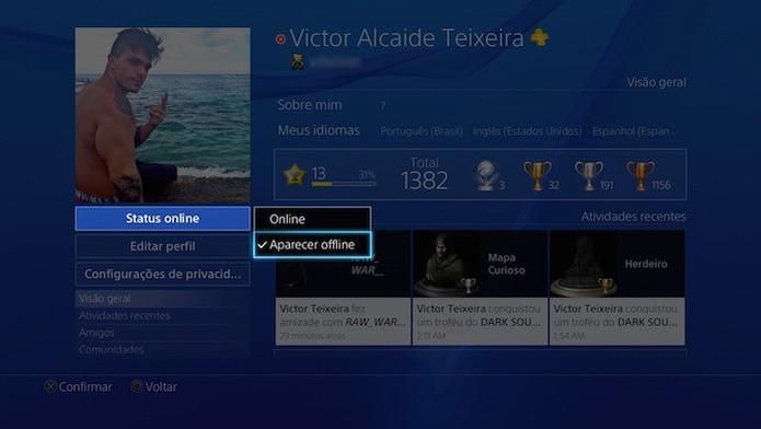 PS4: mude o seu status para offline a partir do perfil do jogador  (Foto: Reprodução/Victor Teixeira)