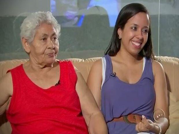 'Agora me sinto em paz e aliviada', diz Alcina após ver neta na televisão (Foto: Reprodução/TV TEM)