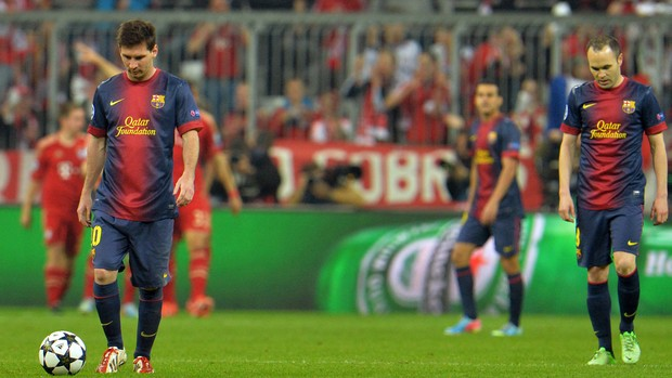 Messi Iniesta, Bayern de Munique x Barcelona (Foto: AP)