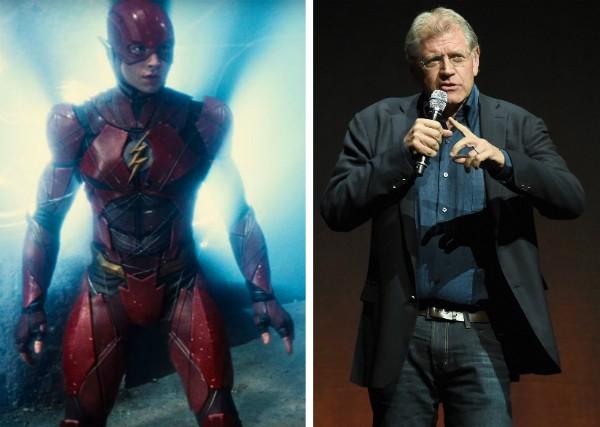 O herói Flash vivido por Ezra Miller e o diretor Robert Zemeckis (Foto: Reprodução/Getty Images)