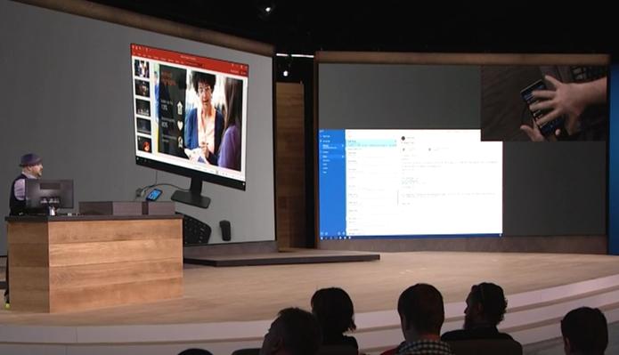 Continuum permite que usuário use apps diferentes no monitor e no celular (Foto: Reprodução/Microsoft)