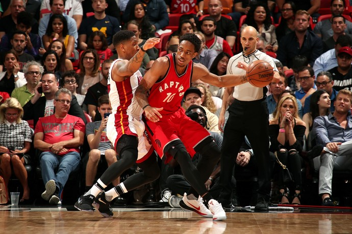 DeMar DeRozan no jogo entre Toronto Raptors e Miami Heat (Foto: Getty Images)