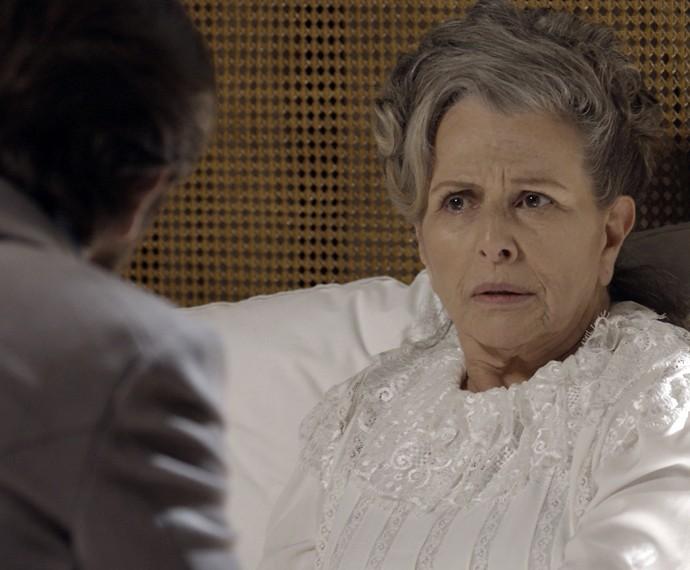 Vitória garante que não vai falar nada com o sobrinho (Foto: TV Globo)