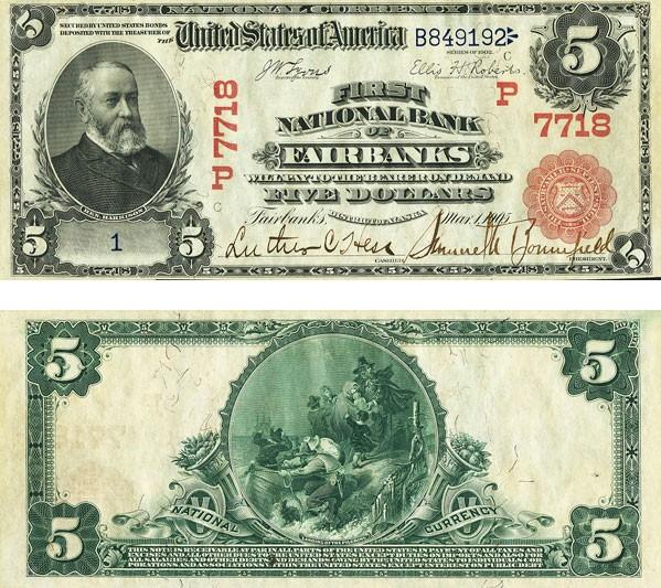 Nota rara de US$ 5 vai à leilão e pode valer US$ 300 mil. (Foto: Heritage Auctions/AP)