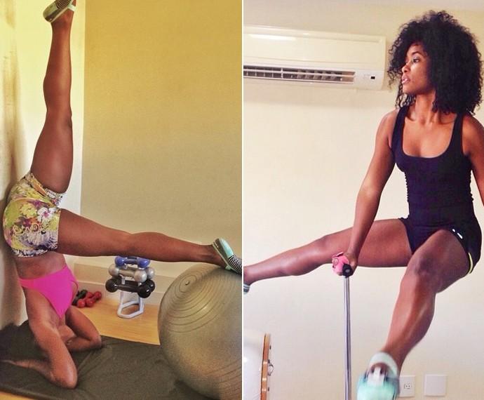 Erika Januza diz que gosta de se arriscar em exercícios  (Foto: Arquivo Pessoal)