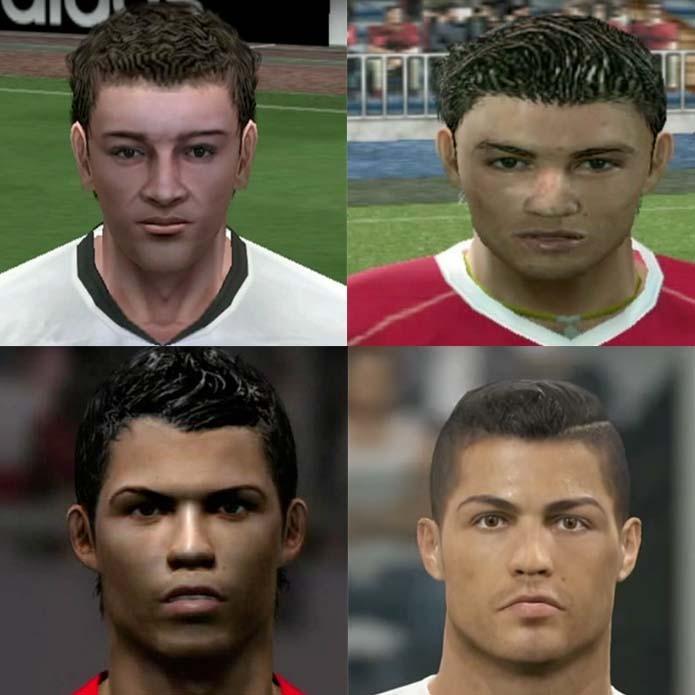 Cabelos e rosto do português mudaram com as versões de PES (Foto: Reprodução/Murilo Molina)