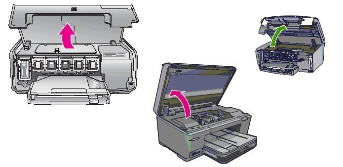 Abrindo a tampa da impressora para acessar os cartuchos (Foto: Divulgação/HP)