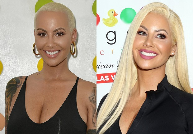 Amber Rose careca e usando peruca (Foto: Getty Images)