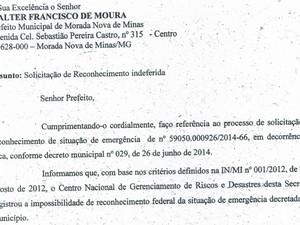 Ofício nacional enviado à Prefeitura de Morada Nova de Minas (Foto: Reprodução)