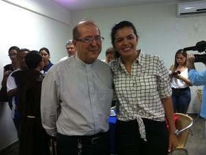 D. Sérgio Castriani e a titular da Sejel, Alessandra Campelo, também estiveram no evento (Foto: Camila Henriques/G1 AM)