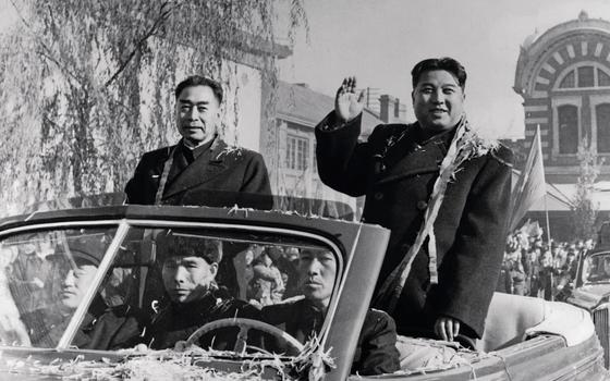 Kim II-sung em visita a Pequim (Foto:  Bettmann Archive/Getty Images)