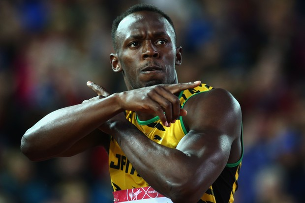 GLASGOW, SCOTLAND - AUGUST 02:  Usain Bolt of Jamaica celebrates winning gold in the Men (Foto: Getty Images)
