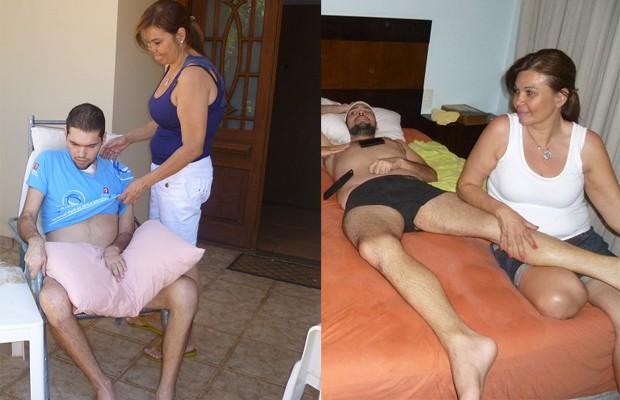 Algumas das poucas fotos de Thiago durante o processo de recuperação de um AVC hemorrágico (Foto: Arquivo pessoal)