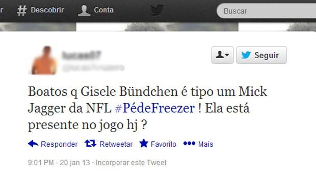 Reprodução twitter Gisele Bündchen Pé frio (Foto: Reprodução / Twitter)