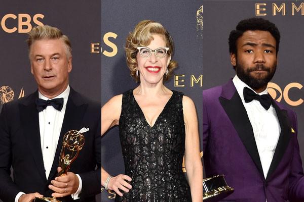 Alec Baldwin, Jackie Hoffman e Donald Glover foram alguns dos personagens que marcaram a noite do Emmy (Foto: Getty Images)