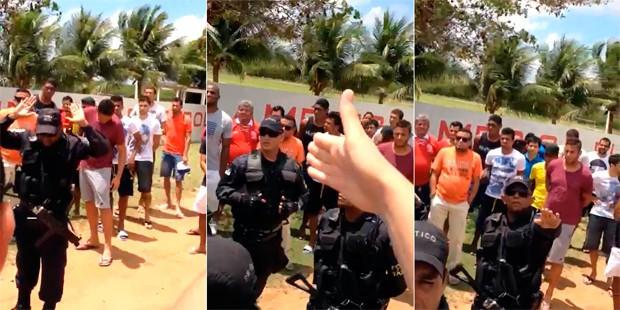 Polícia militar não precisou usar força, mas apaziguou o clima de revolta (Foto: Cassius Andrey/G1)