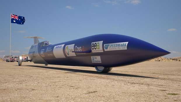Imagem gerada por computador mostra o carro-foguete projetado na Austrália (Foto: AFP)