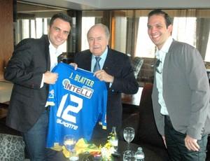 Falcão Blatter Renzo encontro São Paulo (Foto: Carlos Silva/Divulgação)