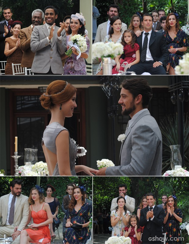 Os convidados se emocionam com a união do casal (Foto: Joia Rara/ TV Globo)