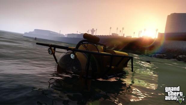 As imagens mostram ainda um submarino individual, que sugerem que o game terá missões subaquáticas. (Foto: Divulgação)