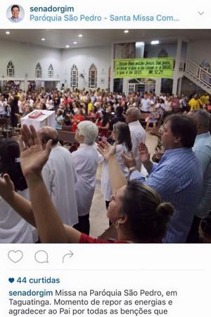 O ex-senador Gim Argello já postou foto da Paróquia de São Pedro, em Taguatinga. A igreja recebeu R$ 350 mil da OAS, diz MPF (Foto: Reprodução/Instagram)