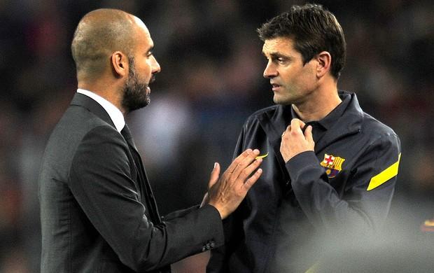 Tito Vilanova e Guardiola, Barcelona (Foto: AFP)