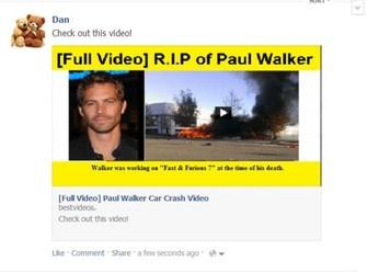 Posts no Facebook com vídeos da morte de Paul Walker são vírus (Foto: Reprodução/Hot for Security) (Foto: Posts no Facebook com vídeos da morte de Paul Walker são vírus (Foto: Reprodução/Hot for Security))