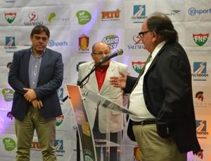 Eduardo Rocha e José Rocha, conselheiros do América-RN - José Vanildo, presidente da FNF (Foto: Jocaff Souza/GloboEsporte.com)