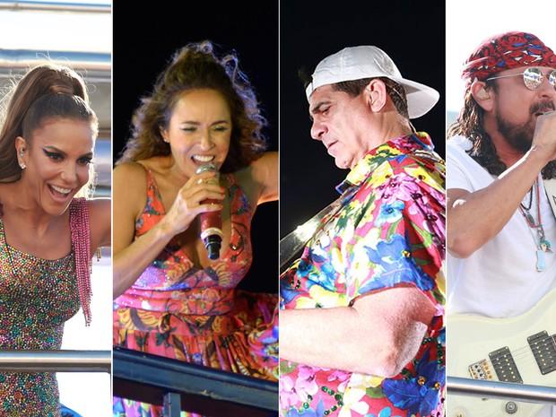 Ivete Sangalo, Daniela Mercury, Durval Lelys e Bell Marques se apresentam no 6º dia de carnaval em Salvador (Foto: Arte G1)