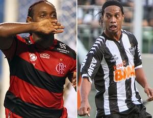 Love e Ronaldinho Flamengo Atlético-MG (Foto: Editoria de Arte / Globoesporte.com)