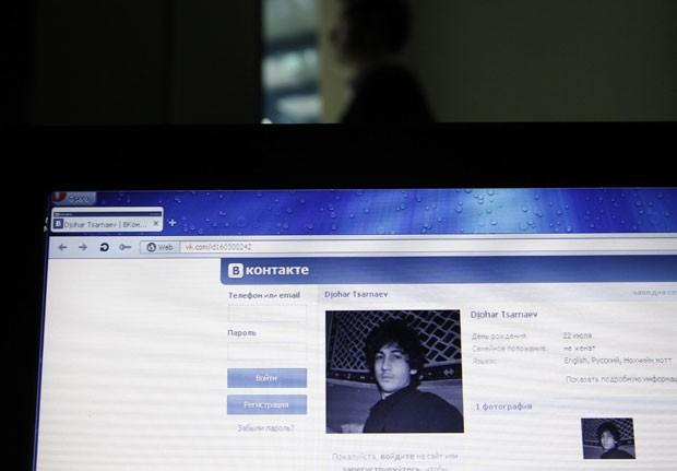 Perfil que seria de Dzhokhar A. Tsarnaev na rede social VK (Foto: Alexander Demianchuk/Reuters)