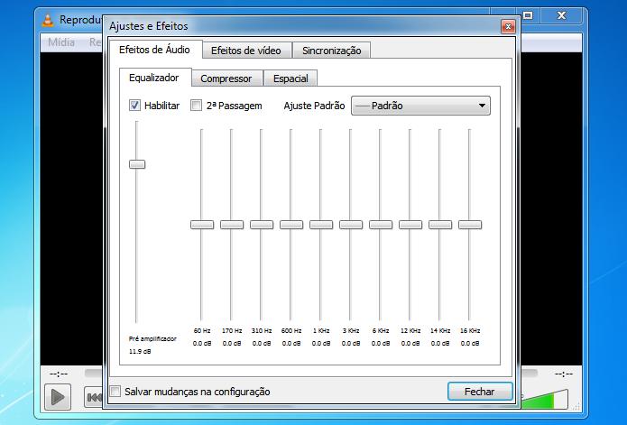Usando o equalizador do VLC (Foto: Reprodução/Helito Bijora)