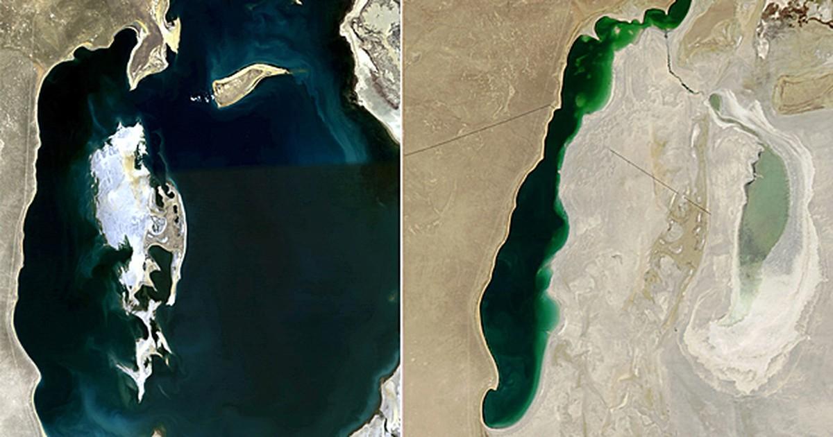 Imagens de satélite mostram redução do volume do Mar de Aral em 5 anos