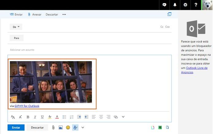 O GIF será adicionado no corpo do e-mail para enviar para seus amigos (Foto: Reprodução/Barbara Mannara)
