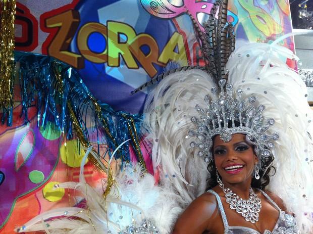 """Quitéria Chagas nos bastidores do """"Zorra Total"""" (Foto: Divulgação)"""