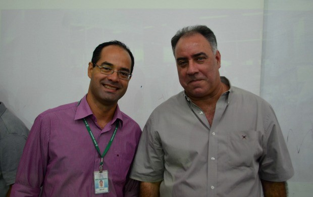 Gerente de jornalismo no Acre Jefson Dourado ao lado do diretor geral de jornalismo da Rede Amazônica Luis Augusto Pires Batista (Foto: Murilo Lima)