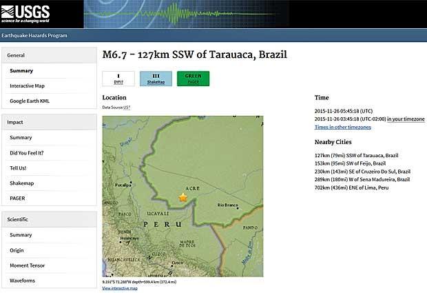 Forte terremoto atinge o Norte do país, informa o USGS (Foto: Reprodução / USGS)