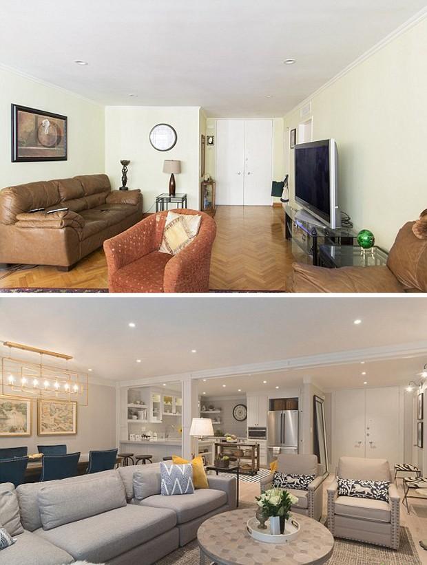 Antes e depois da sala da casa dos pais de Mila Kunis (Foto: Divulgação/Houzz)
