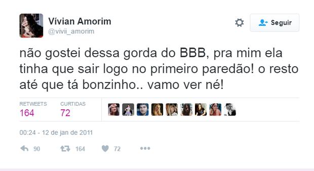 Comentário atribuído a Vivian do BBB 17 (Foto: Reprodução/Twitter)