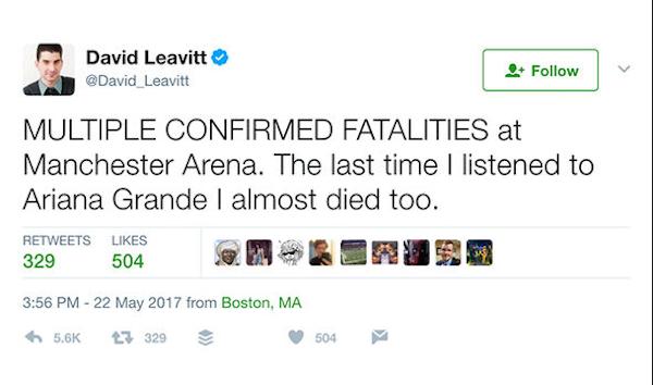 A publicação posteriormente apagada do jornalista americano sobre o atentado no show de Ariana Grande (Foto: Twitter)