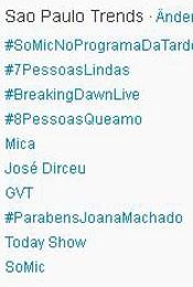 Trending Topics em SP às 17h05 (Foto: Reprodução)