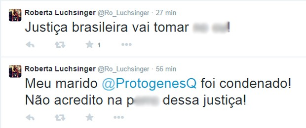 Mensagens publicadas por Roberto Luchsinger no microblog Twitter sobre a condenação de Protógenes (Foto: Reprodução)
