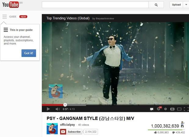 Vídeo do Psy, 'Gangnam Style', chegou a 1 bilhão de acessos no YouTube (Foto: Reprodução)