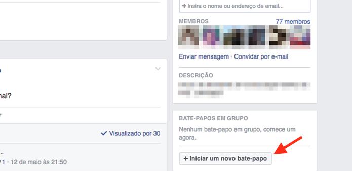 Iniciando a tela de seleção de membros de um grupo para iniciar um chat no Facebook (Foto: Reprodução/Marvin Costa)