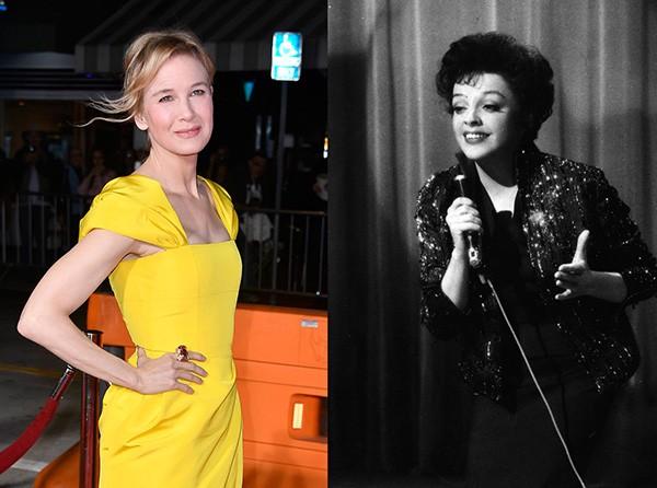 Renée Zellweger em outubro de 2017 e Judy Garland, em apresentação de 1958 (Foto: Getty Images)