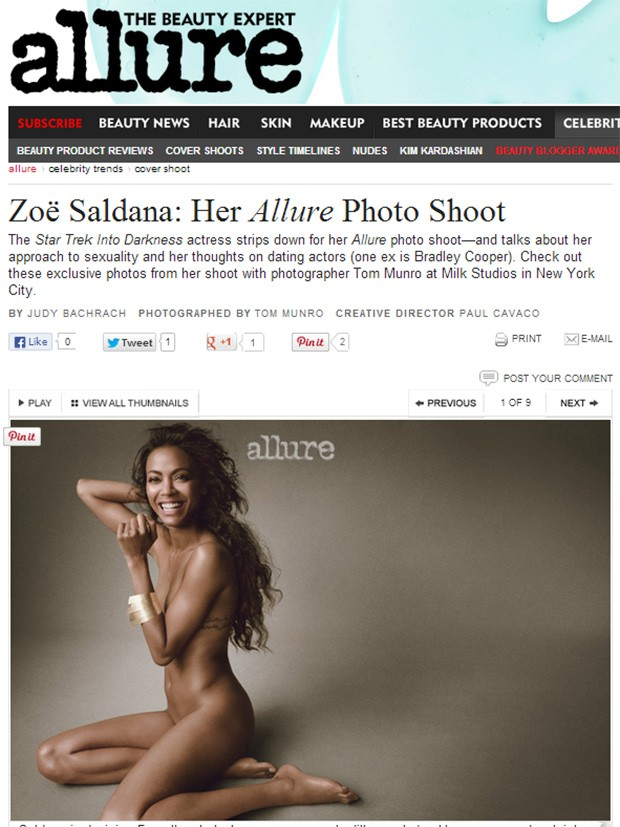 Zoe Saldana (Foto: Allure/Reprodução)