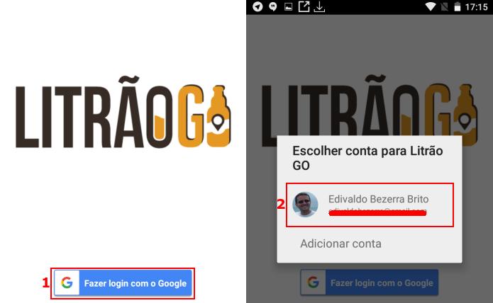 Selecionando a conta Google no Litrão GO (Foto: Reprodução/Edivaldo Brito)